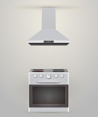 burners: Gray stove with four burners and gray extractor. Isolated vector illustrations.