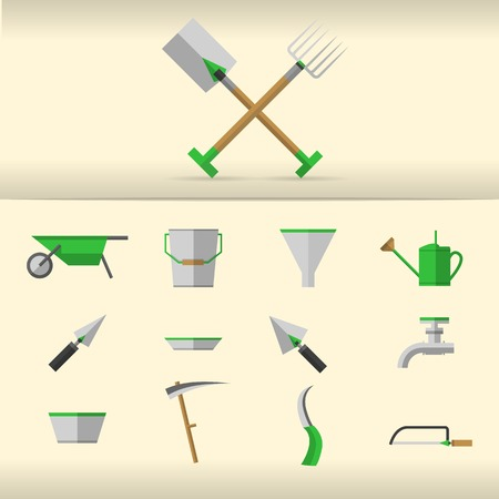 tillage: Set of gray gardening tools with green elements. Stock Photo