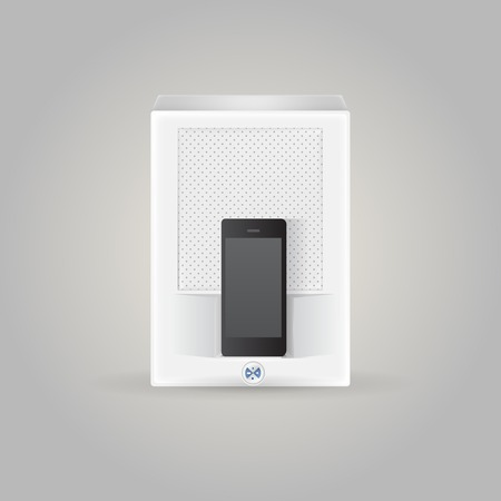 docking: White docking station with black phone. Isolated illustration on gray.