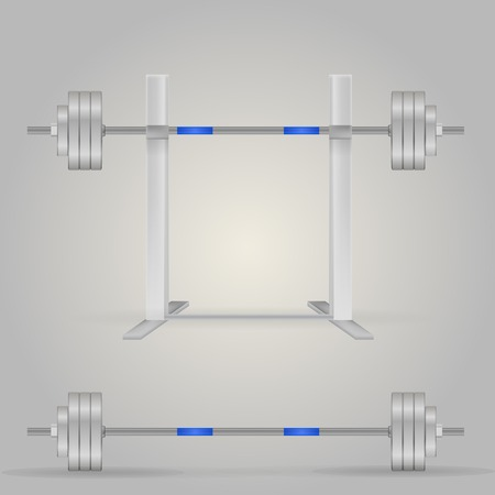 crossbar: Steel barbells, one on the stand. Two isolated vector illustrations on white.