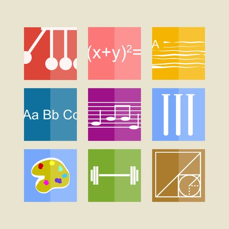 attainments: Square colored icons for school subjects on white. Illustration