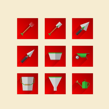 tillage: Square red icons for gardening tools with green elements.