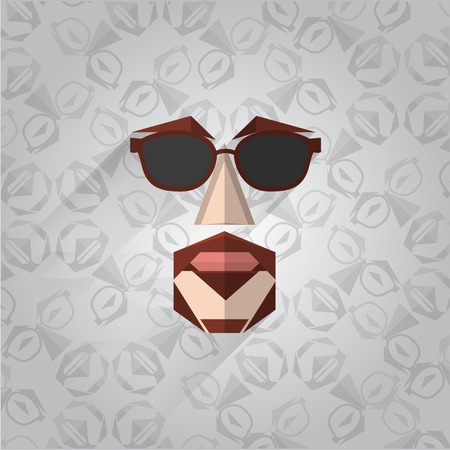 Hipster face in pop-art style on the gray thematic background. Vector