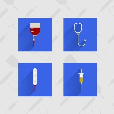 Four blue square icons for medicine on thematic background. photo
