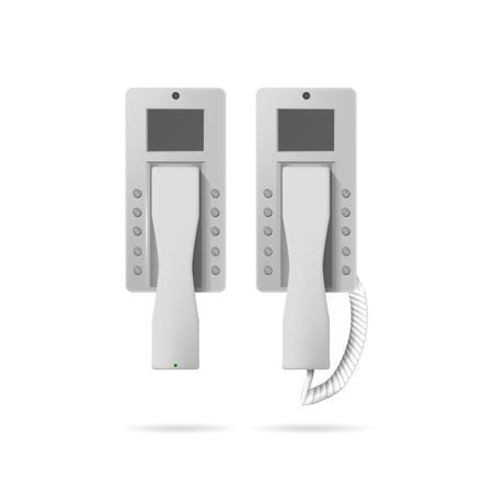 Two white modern wall landline phones, radio and with a wire. Isolated illustration on gray. illustration