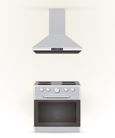 burners: Gray stove with four burners and gray extractor. Isolated illustrations. Stock Photo