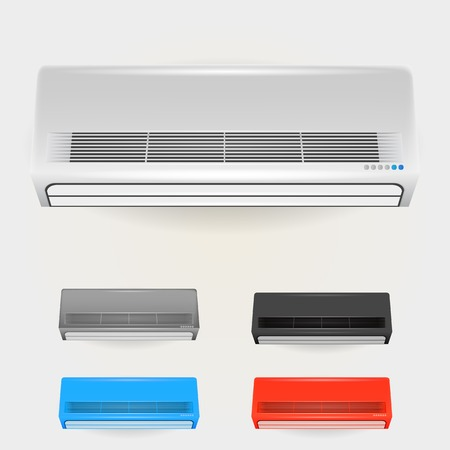 Colored air conditioners. Five isolated illustrations on white. illustration