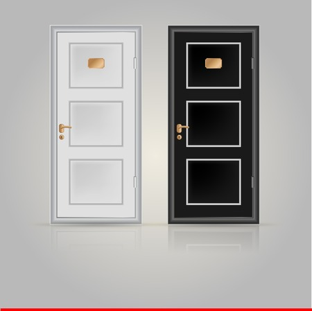 hinges: Black and white doors with golden doorplate and handle. Two illustrations on white.