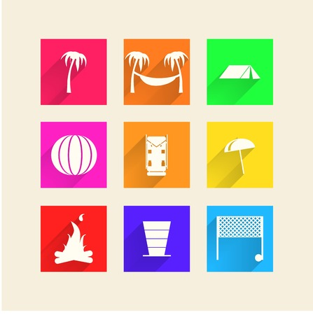 Square color icons for camping and active rest on white background.