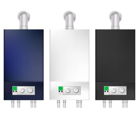 tubing: Blue, white and black boilers with switches and tubing. Three isolated illustrations on white.