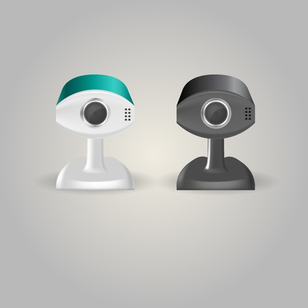 Black and white surveillance cameras. Two isolated vector illustrations on white. Vector
