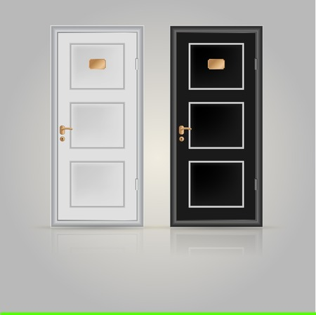 Black and white doors with golden doorplate and handle. Two vector illustrations on white. Vector