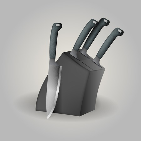 Black knife set with four steel kitchen knives. Isolated vector illustration on gray. Vector