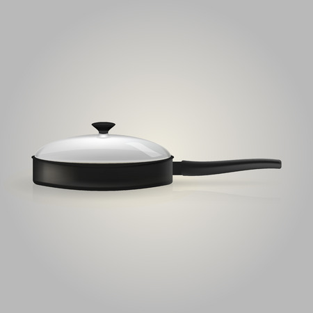 skillet: Black skillet with a transparent lid. Isolated illustration on white. Stock Photo