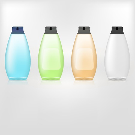 dandruff: Colored bottles of shampoo. Four isolated vector illustrations on white.