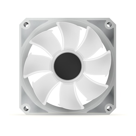 overheat: Gray computer cooler. Isolated vector illustration on white.