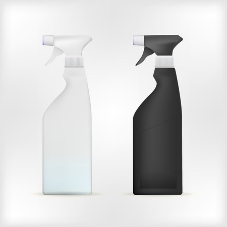 pulverizer: Black and white sprayers. Two isolated vector illustrations on white.