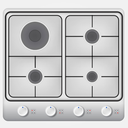 cooktop: Gray hob with four circle burners and black grille. Isolated illustration on white.