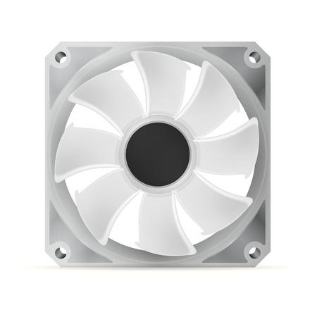 overheat: Gray computer cooler. Isolated illustration on white.