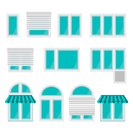 Set of different kind of windows on white.