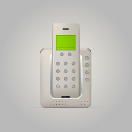 Gray radio home radiotelephone with green display. Isolated illustration on white.