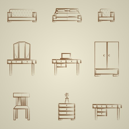 Set of contour icons for furniture on gray. Vector