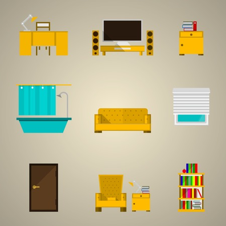 Set of colored icons for an apartment on gray. Vector