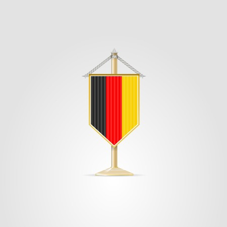 pennon: Pennon with the flag of Germany. Isolated vector illustration on white.