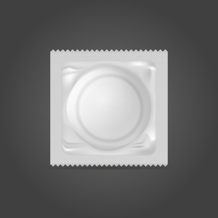 Condom in a white pack. Isolated vector illustration on black. Vector