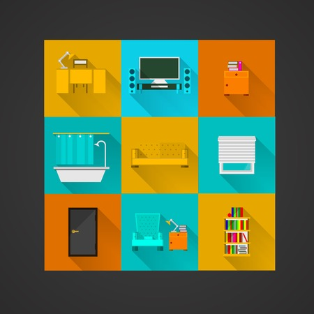 conveniences: Set of colored square icons for an apartment on black.