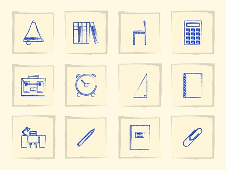 chancellery: Set of vintage icons for school on in square gray frames.