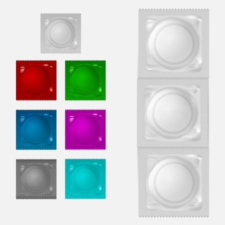 Set of condoms in a color packing. Isolated vector illustrations on white. Vector