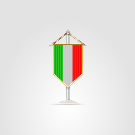 pennon: Pennon with the flag of Italy. Isolated vector illustration on white.