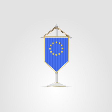 pennon: Pennon with the flag of the European Union. Isolated vector illustration on white.