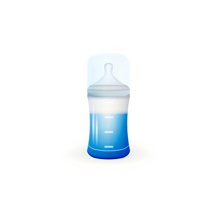 silicone: Blue baby feeding bottle with measure silicone nipple. Isolated vector illustration on white.