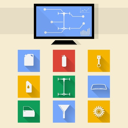 Square colored icons and diagnostic monitor for auto repair. Vector