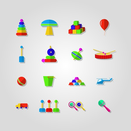 rattles: Set of colored icons for children toys on light gray background.