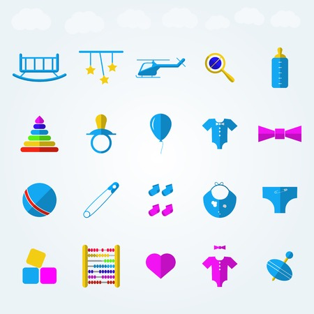 rattles: Set of blue icons for children toys with colored elements on light blue background.