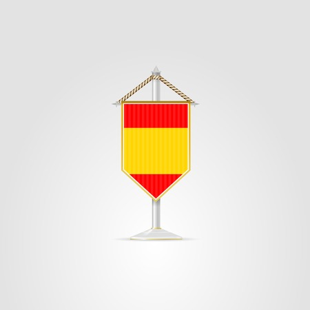 pennon: Pennon with the flag of Spain. Isolated vector illustration on white. Illustration