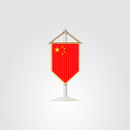 pennon: Pennon with the flag of China. Isolated vector illustration on white.