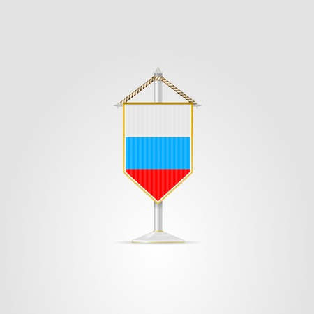 pennon: Pennon with the flag of Russia. Isolated vector illustration on white.
