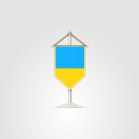 pennon: Pennon with the flag of Ukraine. Isolated vector illustration on white.