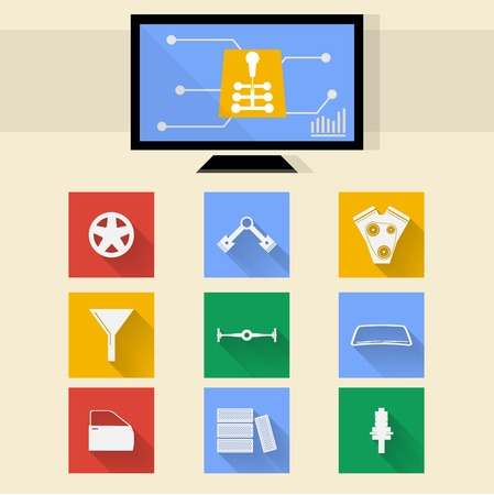 mot: Square colored icons and diagnostic monitor for auto repair. Stock Photo