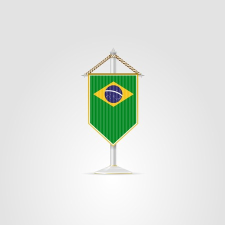 pennon: Pennon with the flag of Brazil. Isolated illustration on white. Stock Photo