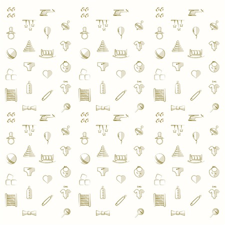 Vintage pattern with children toys on a white background. photo