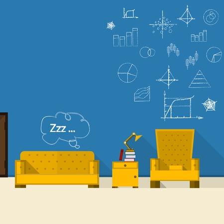 hospedaje: Ilustración plana de baño con muebles de color amarillo. Foto de archivo