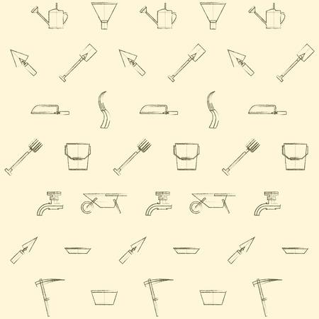labranza: Patr�n de la vendimia con las herramientas de jardiner�a en un fondo ligero