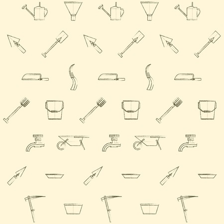 tillage: Vintage pattern with gardening tools on a light background