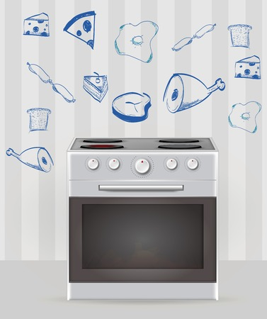 cooktop: Gray oven in the kitchen with sketch of food around  Isolated illustration