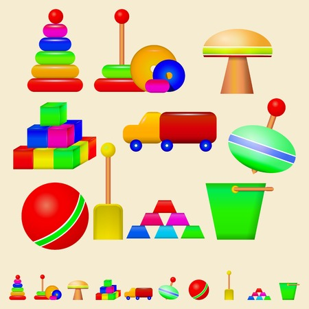 Colorful children toys.  Ilustrace
